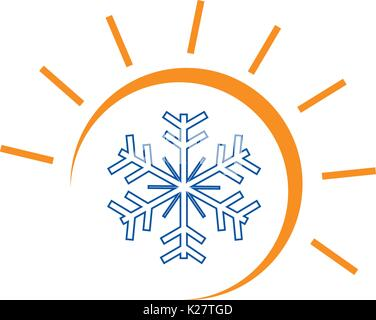 sun and snowflake illustration, hot and cool logo, symbol design, isolated on white background. - Stock Photo