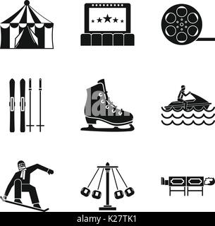 Active life icons set, simple style - Stock Photo