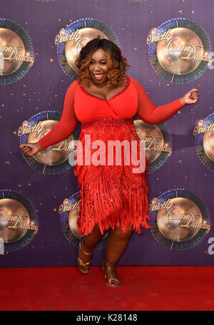 Chizzy Akudolu at the launch of Strictly Come Dancing 2017 at Broadcasting House in London. - Stock Photo