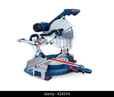 Miter saw, Mitre saw power tool isolated on white background with clipping path - Stock Photo