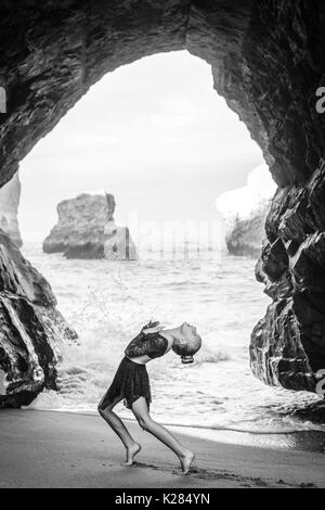 Young dancer on the beach - Stock Photo