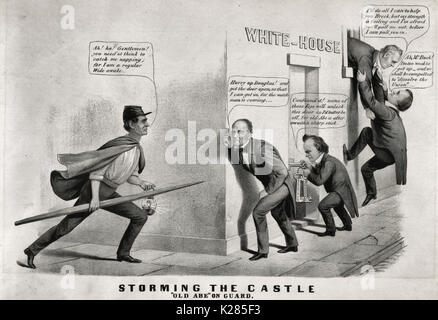 Storming the castle. 'Old Abe' on guard - Political Cartoon, 1860. During the 1860 election campaign the 'Wide Awakes,' - Stock Photo