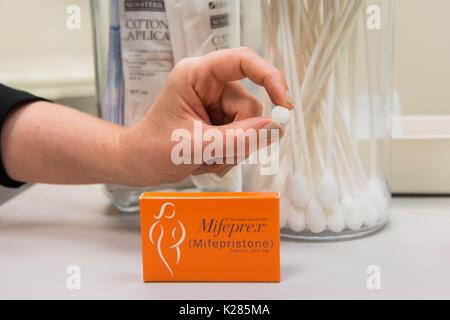 Medication abortion pills, misoprostol and mifepristone (brand name mifeprex) - Stock Photo