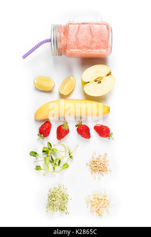 Detox cleanse drink, fruits and berries smoothie ingredients. Natural, organic healthy juice for weight loss diet - Stock Photo