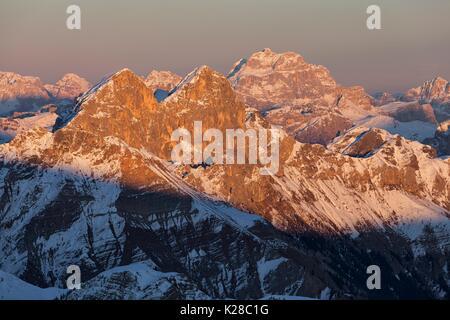Auta Peaks and Sorapis, Dolomites, Veneto, Belluno, Italy. - Stock Photo