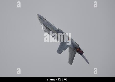 Spanish Air Force EF-18AM hornet fighter jet at the Royal International Air Tattoo - Stock Photo