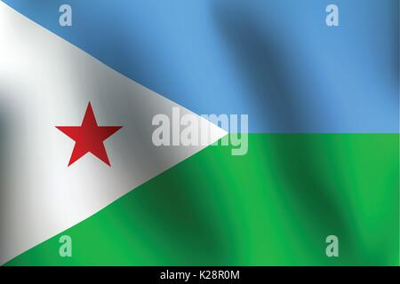 Flag of Djibouti with a little Waving, Shading & Flag Colors separated layers - Vector Illustration - Stock Photo