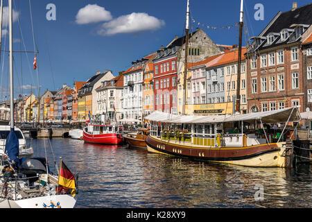 Nyhaven inner harbour in Copenhagen - Stock Photo