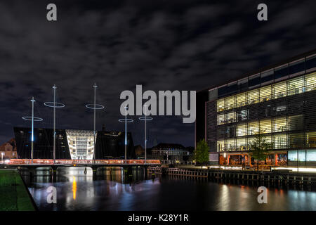 Royal Danish Library and the Circle Bridge in Copenhagen - Stock Photo