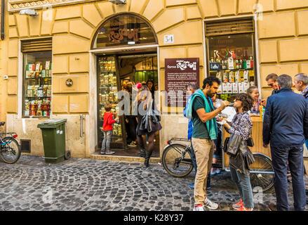 street scene in front of forno roscioli, legendary roman bakery - Stock Photo