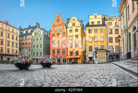 Old colorful houses on Stortorget square in Stockholm, Sweden - Stock Photo
