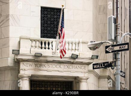 NEW YORK CITY, USA - CIRCA AUGUST 2015: New York Stock Exchange side entrance. - Stock Photo