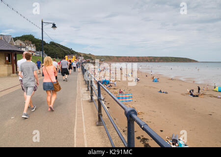Filey promenade on the Yorkshire coast - Stock Photo