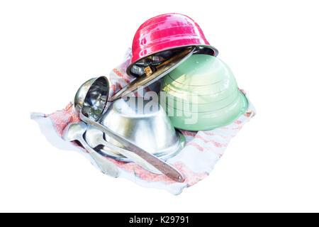 Kitchen utensils on a towel - Stock Photo