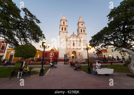 Cathedral of Campeche, State of Campeche, Mexico. - Stock Photo