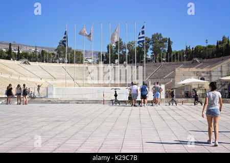 Kallimarmaro stadium, where first olympic games were held in, Athens, Greece - Stock Photo