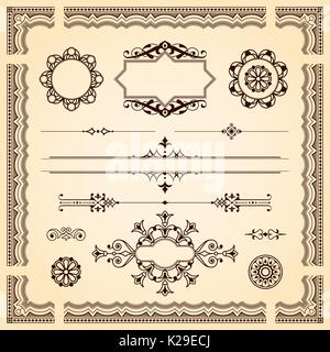 Set of ornamental artistic calligraphic design elements, patterns, swirls, border and dividers on aged vintage paper - Stock Photo