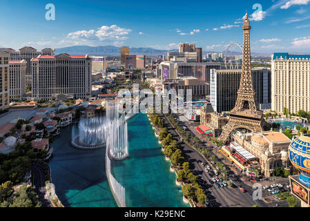 Las Vegas Strip at sunny day - Stock Photo