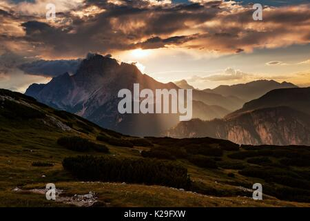 Croda Rossa d'Ampezzo from Piana Mount, Dolomites, Misurina, Belluno, Veneto, Italy. - Stock Photo