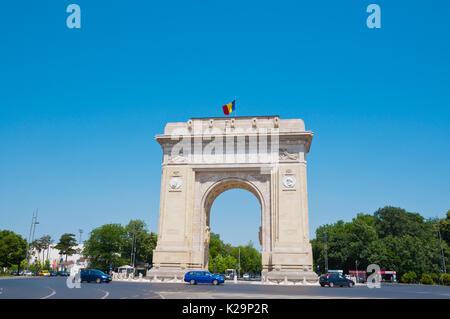 Arcul de Triumf, The Arch Of Triumph, WWII memorial, Bucharest, Romania - Stock Photo