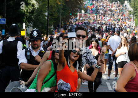 London, UK. 28th Aug, 2017. Notting Hill Carnival, largest in Europe, on August 28, 2017 in London, UK. Carnival - Stock Photo