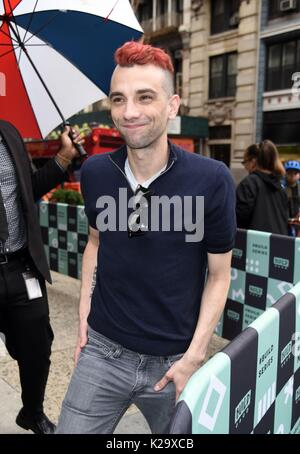 New York, NY, USA. 29th Aug, 2017. Jay Baruchel, out promoting his new film GOON: LAST OF THE ENFORCERS out and - Stock Photo