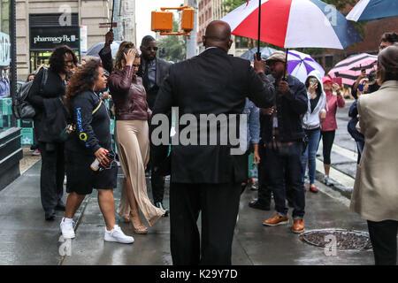 New York, United States. 29th Aug, 2017. NEW YORK, NY - AUGUST 29: Singers Lauren Jauregui, Dinah Jane, Normani - Stock Photo