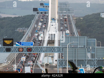 Edinburgh, Scotland, UK. 30th August, 2017. A view looking north towards Fife showing traffic driving over the new - Stock Photo