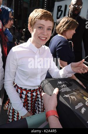 New York, NY, USA. 30th Aug, 2017. Sophia Lillis, out promoting her new film IT out and about for Celebrity Candids - Stock Photo