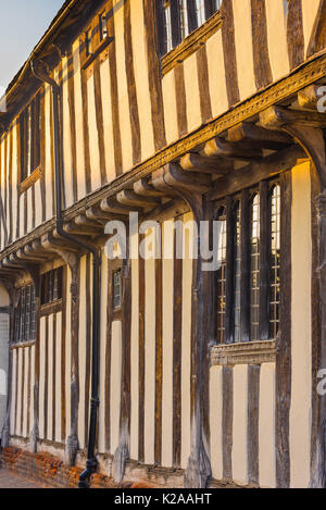 Lavenham Suffolk colour, detail of the exterior of a medieval half timbered Swan Hotel in the Suffolk village of - Stock Photo