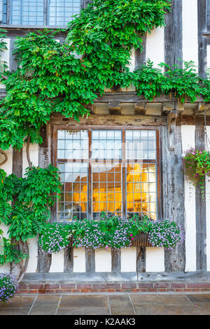 Lavenham Suffolk house colour, exterior detail of wisteria covered medieval half timbered building sited in Market - Stock Photo