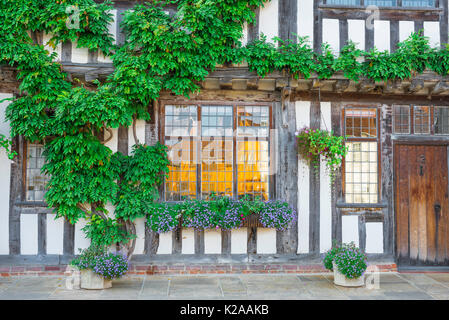 Lavenham Suffolk house colour, exterior detail of a medieval half timbered building sited in Market Square Lavenham, - Stock Photo