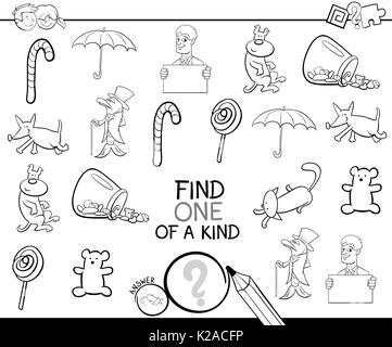 Black and White Cartoon Illustration of Find One of a Kind Educational Activity Game for Children with Funny Pictures - Stock Photo