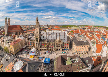 Munich city skyline at Marienplatz new town hall, Munich, Germany - Stock Photo