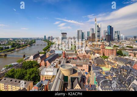 Frankfurt high angel view city skyline, Frankfurt, Germany - Stock Photo