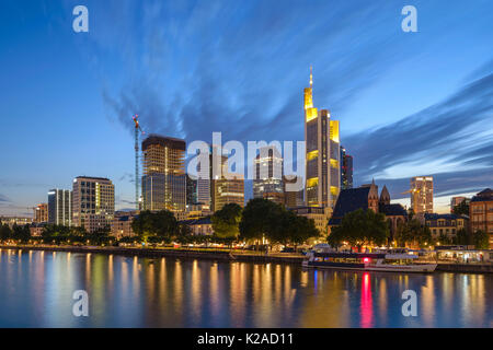 Frankfurt night city skyline at business district, Frankfurt, Germany - Stock Photo