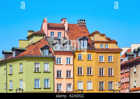Beautiful colored old European houses in the center of the old town in Warsaw, Poland - Stock Photo