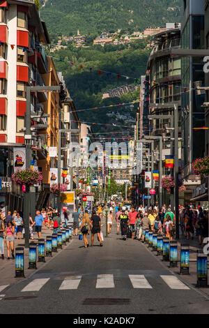 Pedestrian shopping mall, Andorra La Vella, Andorra - Stock Photo