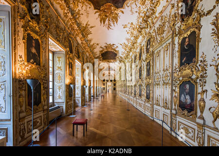 The Baroque Ancestral Gallery, Residenz former royal palace, Munich, Bavaria, Germany - Stock Photo