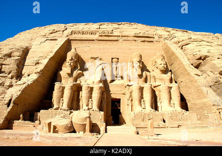 Ramses II temple (The Great Temple) in Abu Simbel. Egypt - Stock Photo