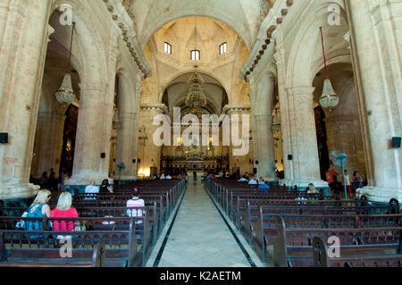 Cathedral of Havana in Plaza de la Cathedral in Havana Cuba - Stock Photo