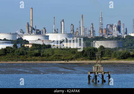 The Esso oil refinery at fawley new forest Hampshire crude oil petroleum chemical processing plant fuels and gas petroleum processing