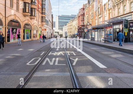 Tramlines on Corporation Street, Birmingham, West Midlands, GB, UK. - Stock Photo