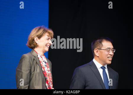 Mrs. Henriette Reker, Lord Mayor of Cologne, and Mr. Ning Wang, Vice Mayor of Peking, at the China Festival 2017 - Stock Photo