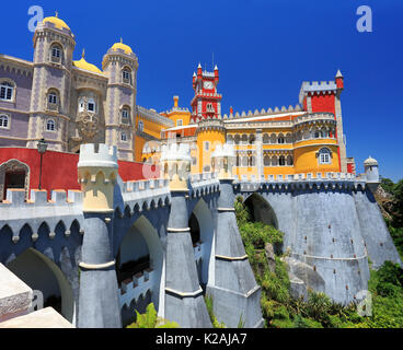 The famous Pena Palace near Sintra in Portugal - Stock Photo