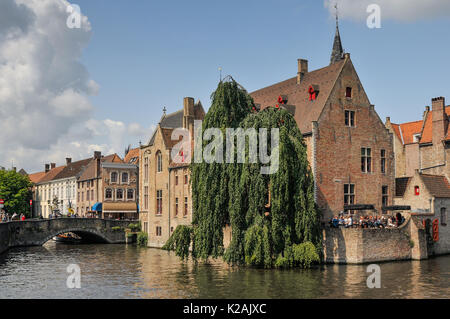 The view from the Rosenhoedkaai by the Diver in the medieval city of Brugge / Bruges in Belgium on a sunny summer - Stock Photo