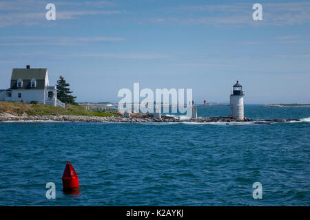 USA Maine ME Port Clyde - Marshall Point Lighthouse as seen from the water - Stock Photo