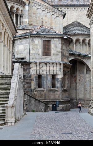 A medieval street in Bergamo, Lombardy, Italy. - Stock Photo