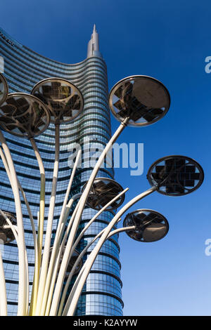 UniCredit Tower in the Porta Nuova District, Milan, Lombardy, Italy. Designed by the architect Cesar Pelli, it is - Stock Photo