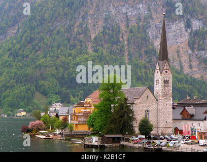 Lake Village of Hallstatt in Spring, Austria - Stock Photo